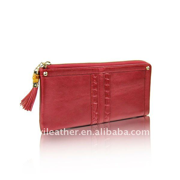 T005- FASHION BRAND GENUINE COW WOMEN LEATHER RED 2013 WALLET