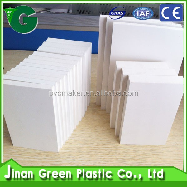 Green 2016 hot sale PVC foam board 6mm 9 mm 12 mm 18 mm 8 x 4 feet Density 0.55