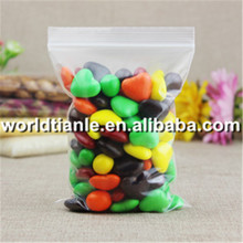 Top sale clear resealable food grade candy ziplock plastic pe bag