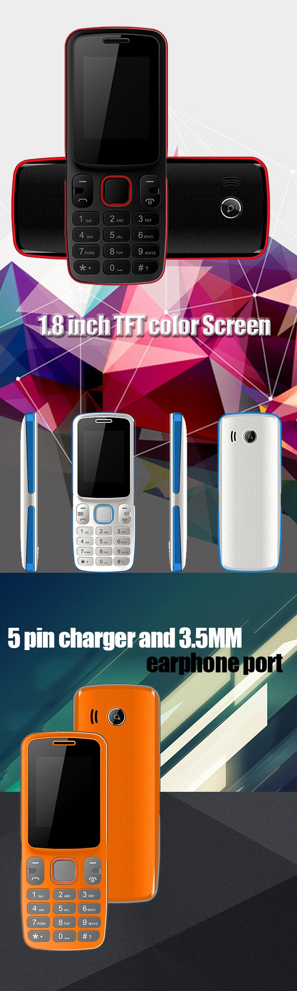 1.8 inch dual sim wholesale feature mobile phone