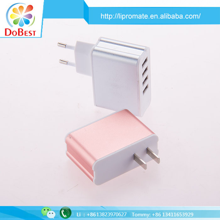 New Style 4A 4USB Wall Charger With US UK AU EU Changeable Plugs