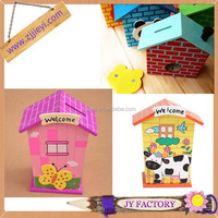 Wooden toy box lovely money collection house shaped money box