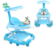 China wholesale rotating unique baby walker / cheap racing car 3 in 1baby walker / rubber wheel baby walker