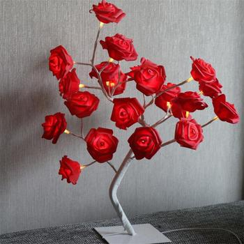 High Quality Warm White Battery Operated 24L Red Rose Bonsai Tree