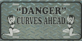 """Danger"" Curves Ahead License Plate"