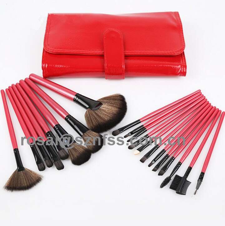 Synthetic Hair Makeup Brush 20 pcs , China Red Colour Make Up Brush , Professional Cosmetic Brush Roll