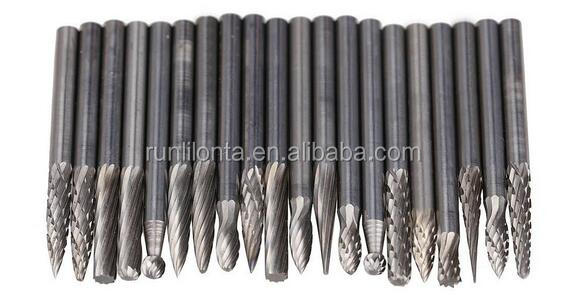 "solid 20pcs Tungsten Carbide Rotary Burr Set with 1/8"" Shank for drilling"