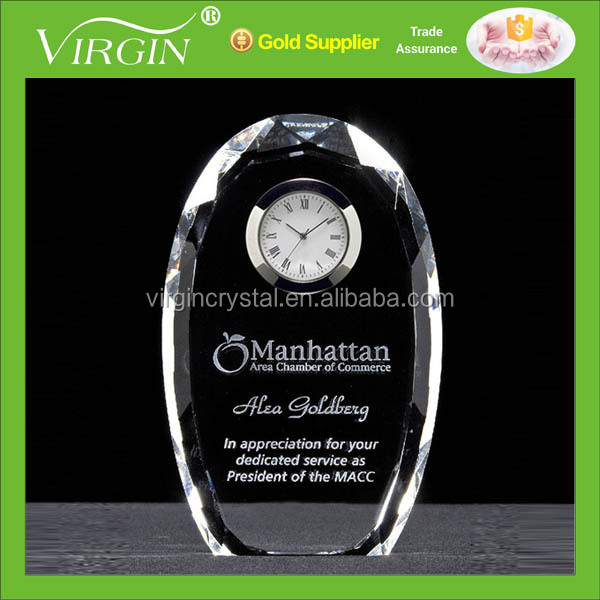 Personalized arch crystal table clock business clock for souvenir gift