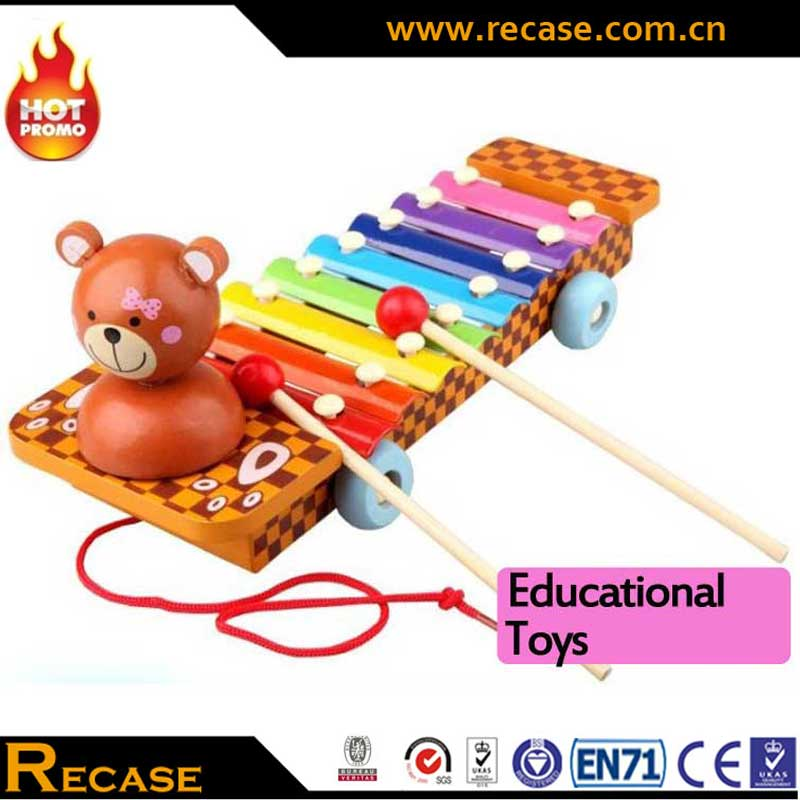 High Quality Piano Xylophone Toy Wholesale Lovable Bear Pull Push Car Custom Musical Instrument Toy For Children