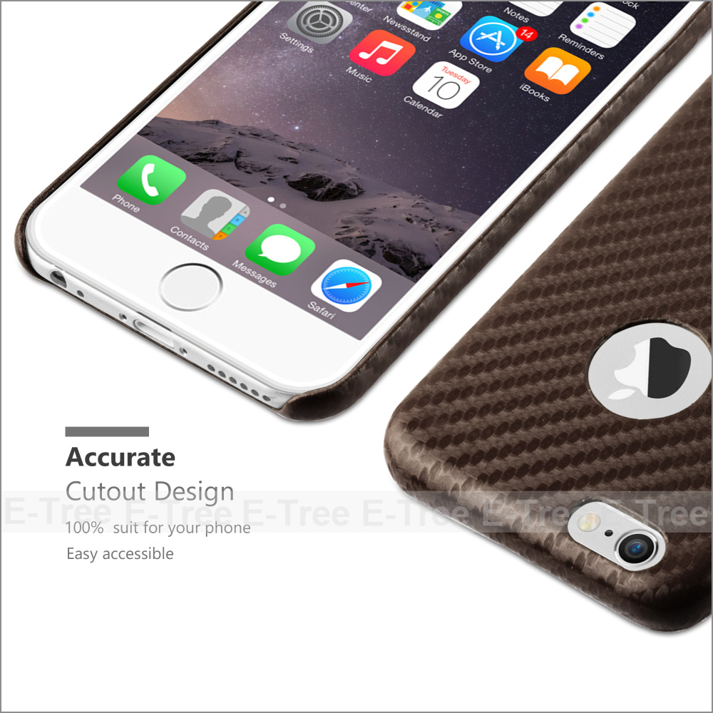 Cellphone Carbon Fiber Look Back Cover PU Leather Phone Case For iPhone 6 / 6S