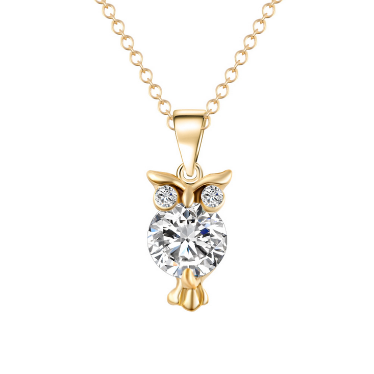 Wholesale online shop top selling Amazon Ebay Wish Gold chain jewelry zircon owl pendant <strong>necklace</strong>