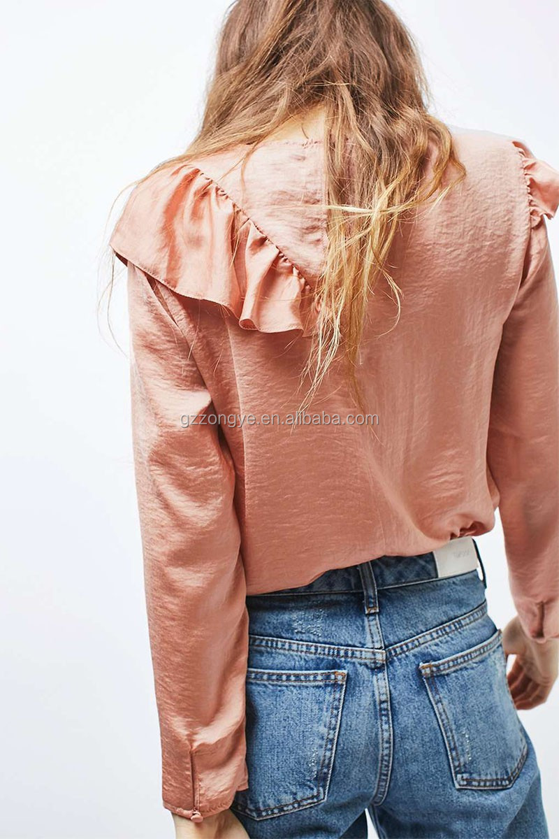 Front ruffe design plain women latest fashion blouse design