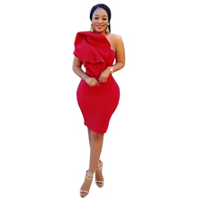 Wholesale Sexy Short Irregular One Shoulder Bodycon Women Red Dress