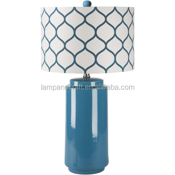 New Latest USA style UL CE blue ceramic table lamp with round blue and white Lattice linen lamp shade indoor