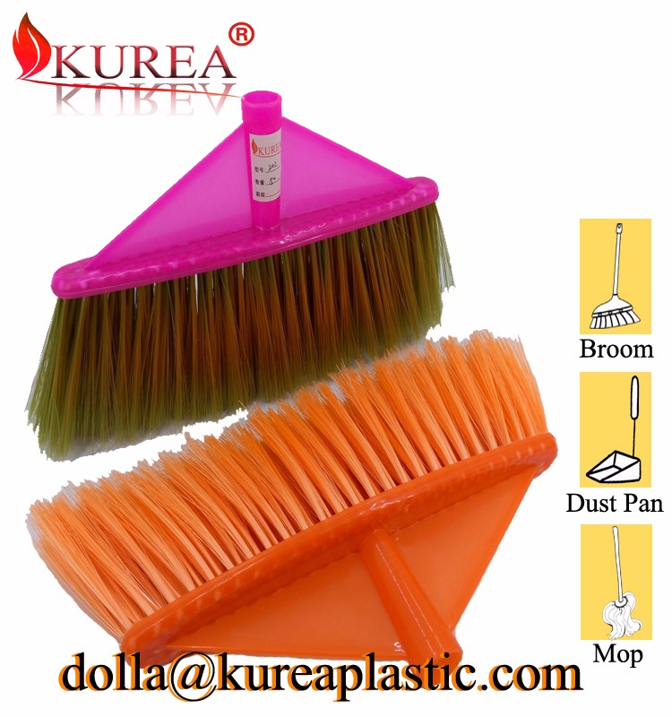 household cleaning soft bristle plastic push garden floor broom