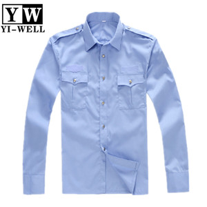 Custom sample cheap price 2pockets shirts for guard security uniform