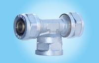 Chrome plated t junction pipe fitting in water pipe connector