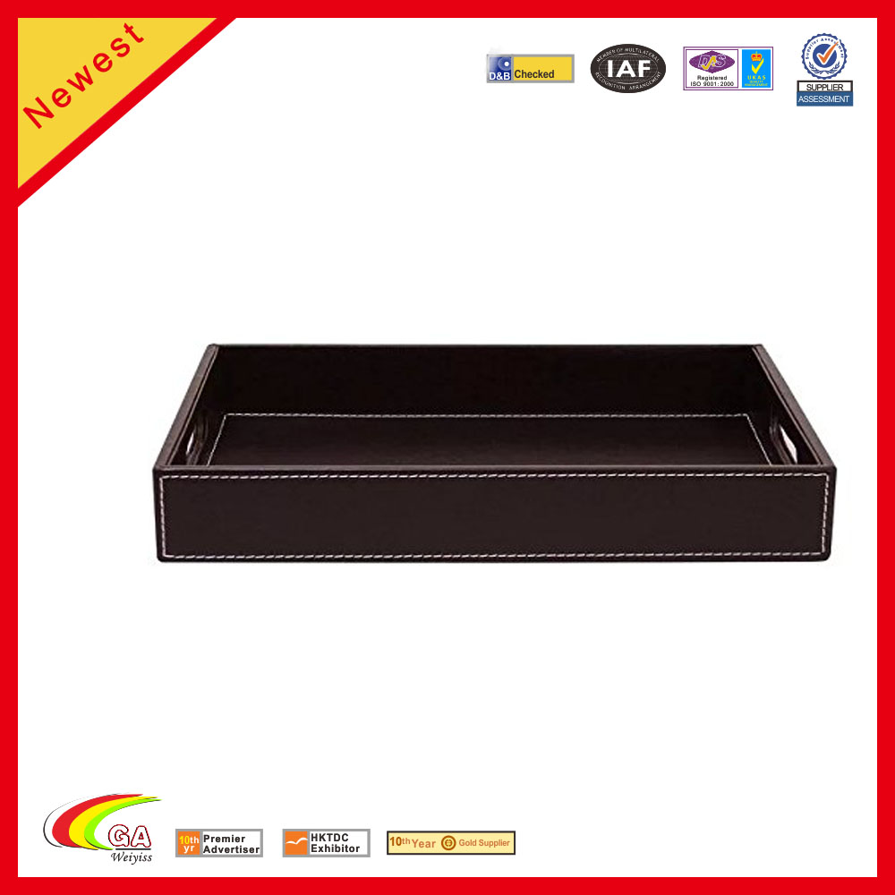 Rectangle PU Leather Home Server Serving Tray with Hole Handles