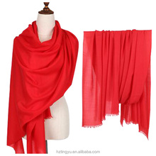 Texted Material stocked or customed plain solid color winter big 100% women wool scarf in tassels