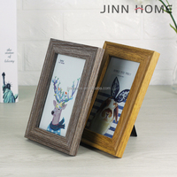Jinnhome High Quality 4x6'' Ancient Wood Photo Frame Glass Clear Picture Frame Family Decoration Home and Office table frame
