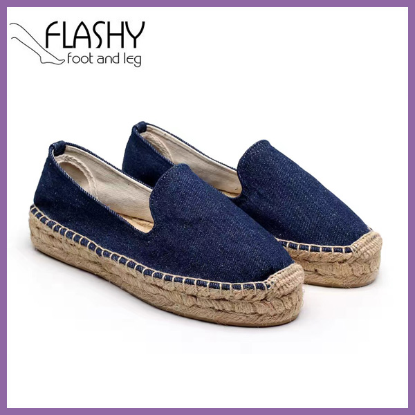 Wholesale washed demin canvas alpargata women slip on shoes