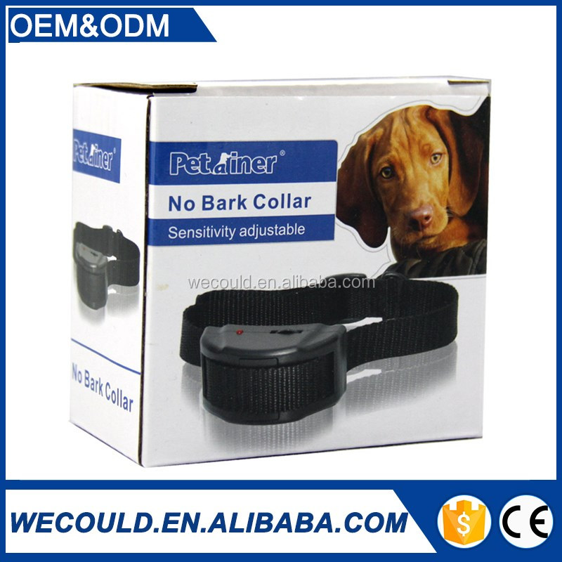 Rechargeable and Waterproof adjustable sesitivity Remote Electronic Shock Dog Bark Control Collar With Bigger LED
