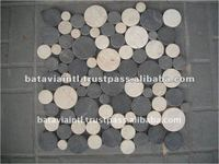 Cut Slices Round Tile Interlocking Natural Marble