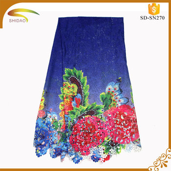 Wholesale Discount 100 Poly Spun Rayon Printed Embroidery Fabric