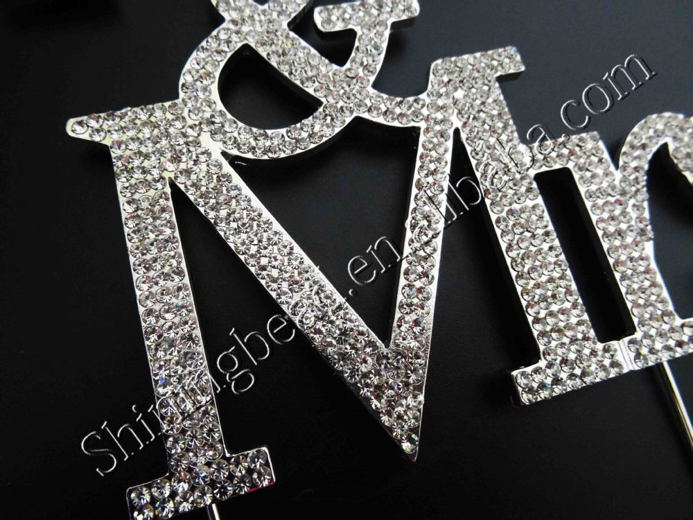 New style Mr&Mrs clear crystal rhinestone cake topper