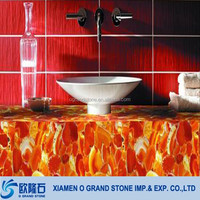 Well Polished Wholesale Faux Agate Red Stone Bathroom Countertop Slabs