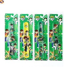 Promotional gift cartoon pu leather ben 10 slap band watch