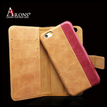 High quality 2 and 1 detachable magnet cell phone case genuine leather wallet case for iphone 6