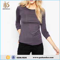 2016 guangzhou shandao 180g 95% cotton 5%spandex solid colour long sleeve fashion women big neck t-shirt