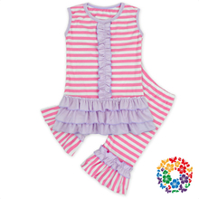 Wholesale Pink Stripe Baby Girl Ruffle Outfits Newborn Clothing Sets 100% Cotton Childrens Boutique Clothing