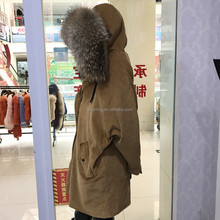 Wholesale Genuine Raccoon Fur Collar Corduroy Parka Real Sheep Fur Lined Winter Warm Parka