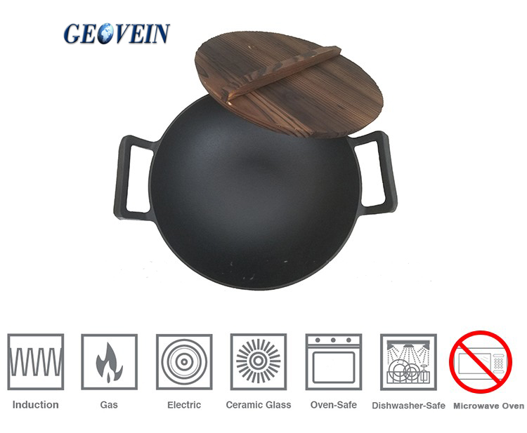 Cast Iron wok JAPAN Cookware Camp cast iron Cook frying Pot with wooden lid