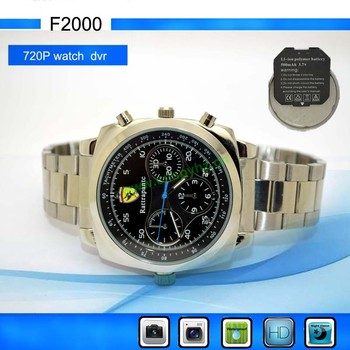 changable battery IR night vision watch DVR,720P IR watch camera with waterproof + tf card slot F2000