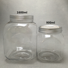 good quality 1600ml big aluminium cap refillable food tea herb dry flower spice storage clear containter plastic candy jar