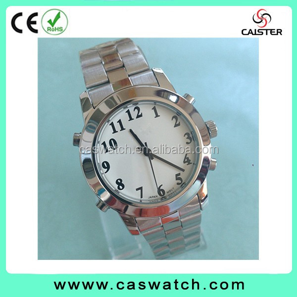 custom made silver-gold two-toned talking watch, Arabic numerals classic watch, multi-functional talking watch for blind people