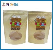 AYW kraft paper with clear window valve Stand up zipper bag