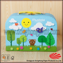 Fancy Custom Printed Kids Cardboard Toy decorative suitcase box with plastic handle