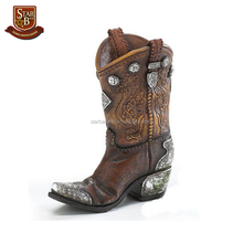 Factory custom made home decoration cheap polyresin western cowboy boots