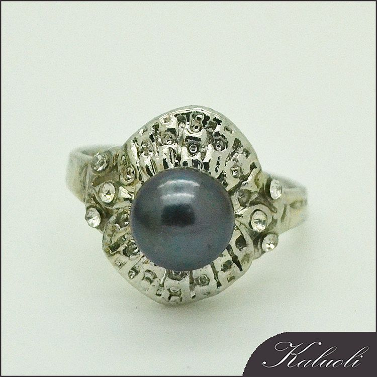 Buy antique jewelry black button freshwater pearl ring setting