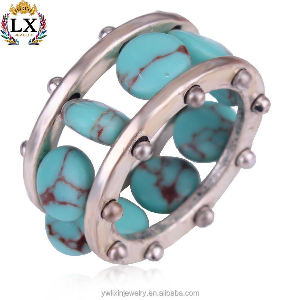 RLX-00336 New arrival wholesale natural jewelry ring men silver turquoise ring
