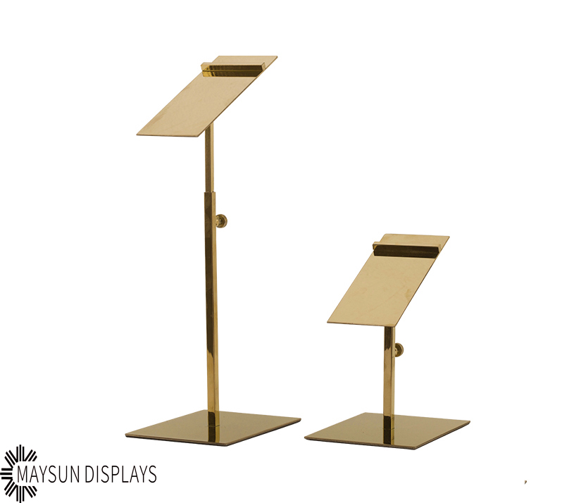 Golden Stainless Steel Adjustable Shoes Display Rack Stand For High Heels