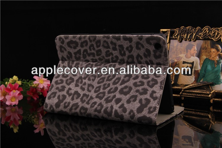 for iPad Mini 2 leather cover stand case Leopard