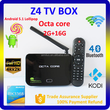 Z4 Android 5.1 TV Box S905 Amlogic 4K 2G 16G RK3368 Octa Core Bluetooth 2.4G/5G Wifi 3D Kodi 15.2 Fully Loaded