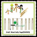 95mm Natural Wood Dolly Pegs for Craft Education