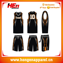 Hongen philippines custom basketball uniform sublimated professional /basketball uniform black style