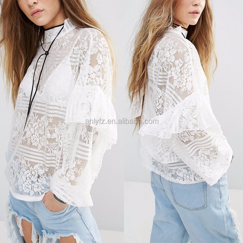 fashionable design long ruffle sleeve high neck oversize white lace blouse for ladies